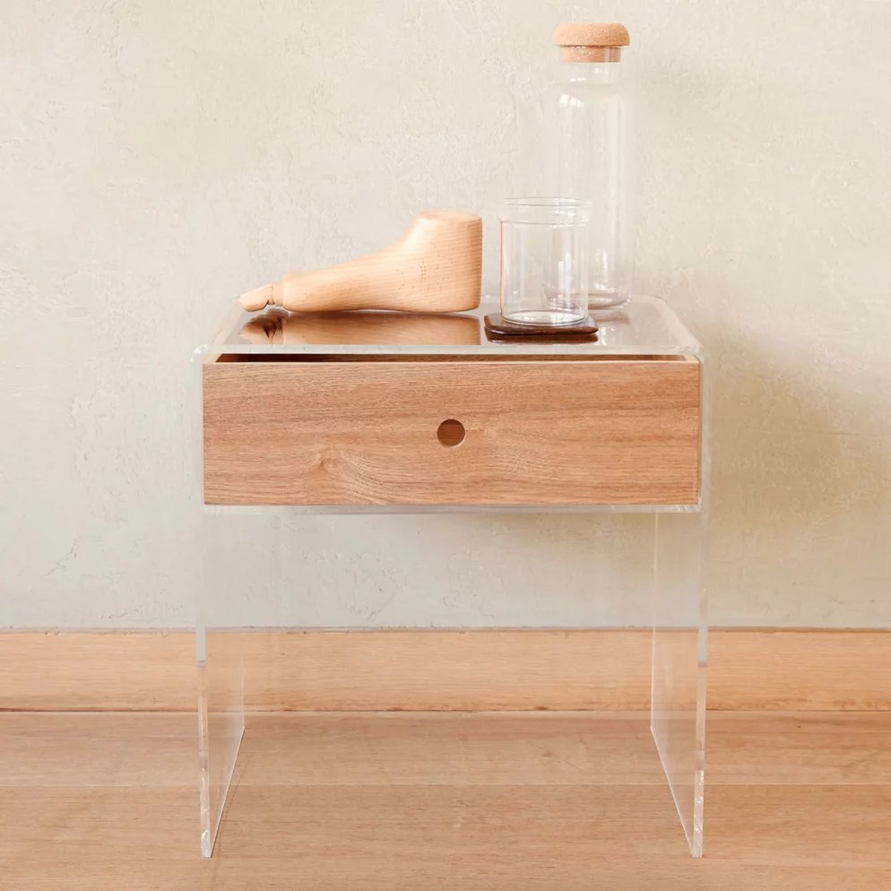 Zara Home Zara Home Methacrylate Table With Contrasting Wooden Drawer Chic