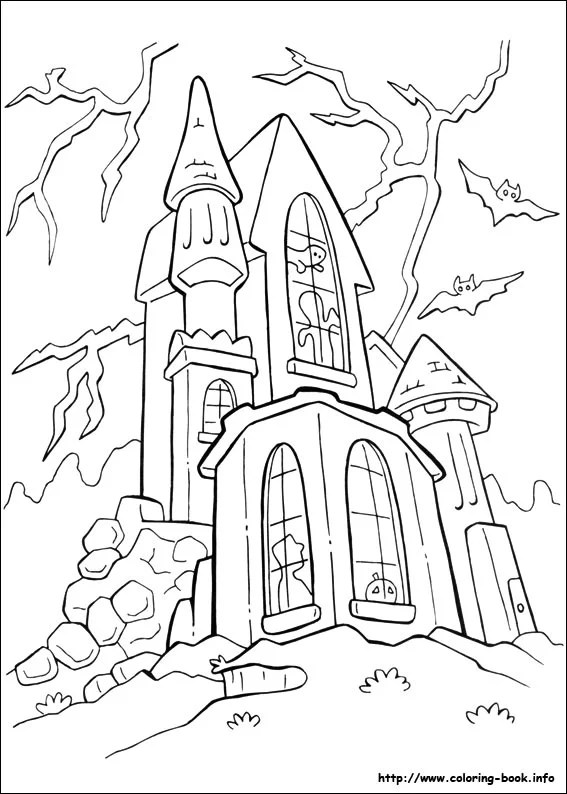 Get the coloring page haunted house Halloween Coloring Page - halloween coloring book pages