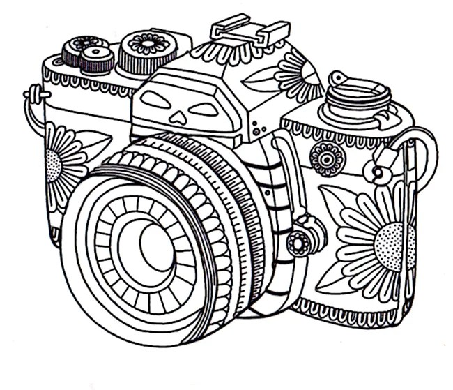 Get the coloring page Camera Free Coloring Pages For Adults - culring pags