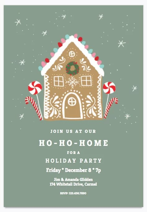 Ho-Ho-Home Holiday Party Invitation Printable Holiday Party - holiday party invitation