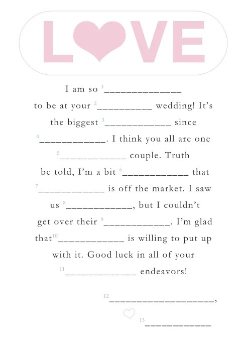 image regarding Printable Wedding Mad Libs called Enjoy No cost Printable Marriage ceremony Crazy Libs POPSUGAR Clever Dwelling