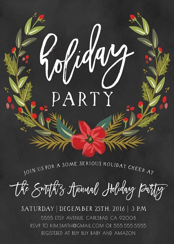 Winter Holiday Party Invitation Printable Holiday Party - holiday party invitation