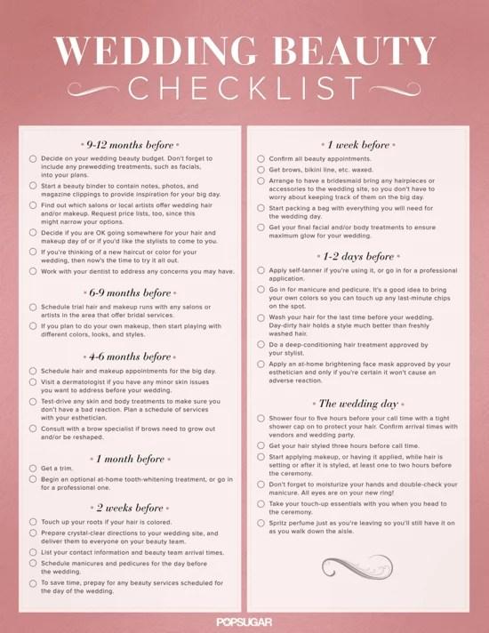 Download the Ultimate Wedding Beauty Planning Checklist! POPSUGAR