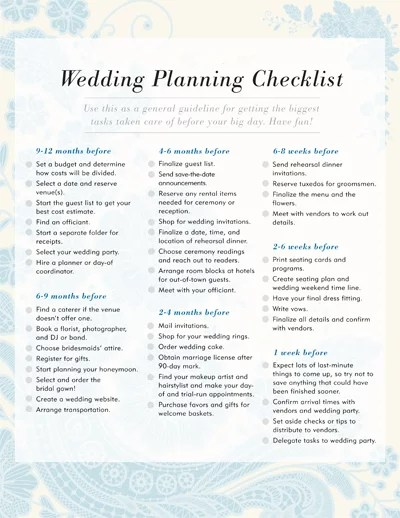 wedding planning checklists printable - Selol-ink