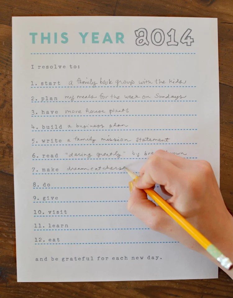 Specific Resolutions Printables 2014 New Yearu0027s Resolution - how to write a paper