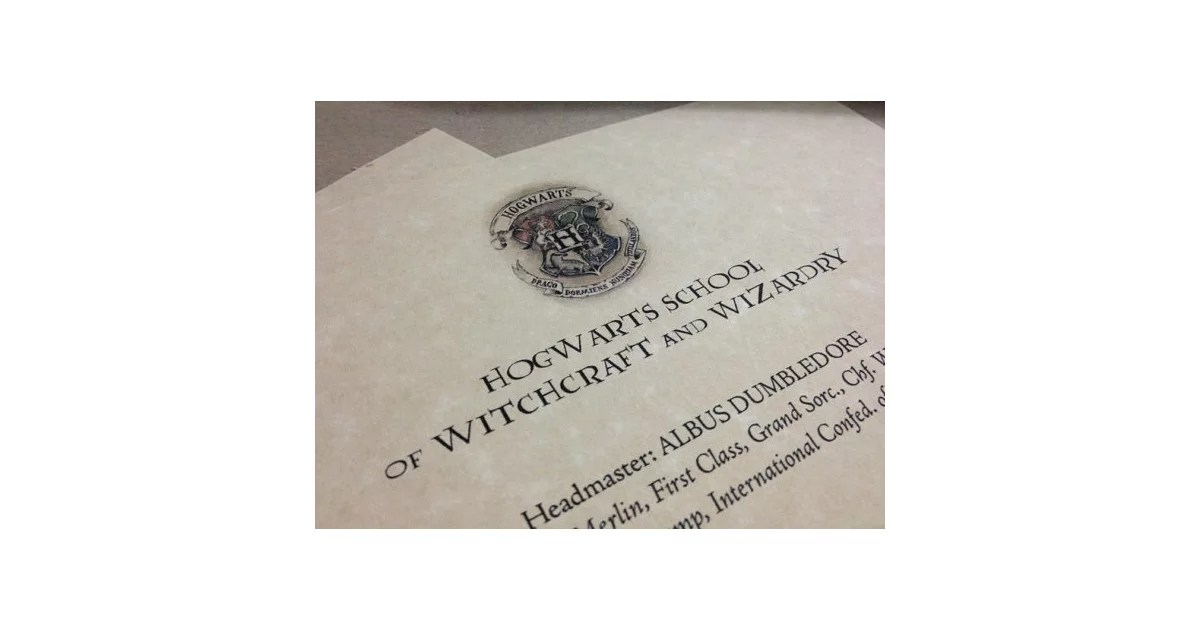 Receive a Hogwarts Acceptance Letter Harry Potter Bucket List - hogwarts acceptance letter