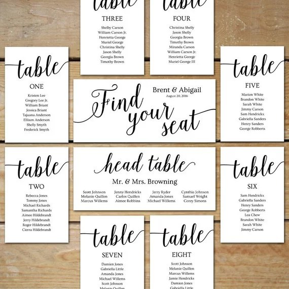 Wedding Seating Chart Cards Unconventional Seating Charts From