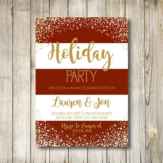 Red-and-White Striped Holiday Party Invitation Printable Holiday - holiday celebration invitations
