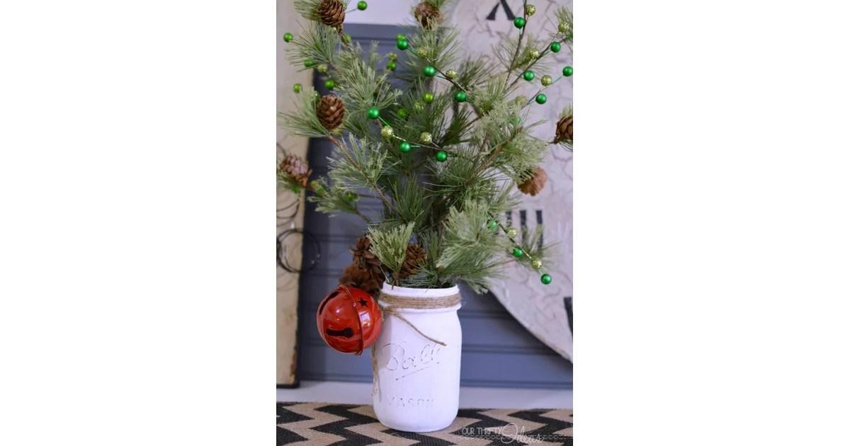 Mini Christmas Tree Holder Mason Jar Holiday Decor