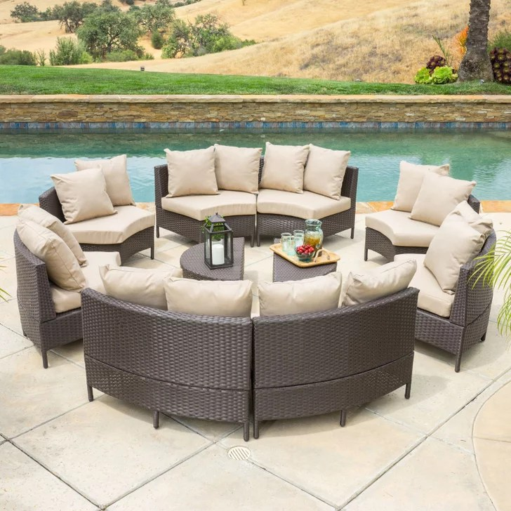 Nathan 10 Piece Dark Brown Wicker Lounge Set With Cushions