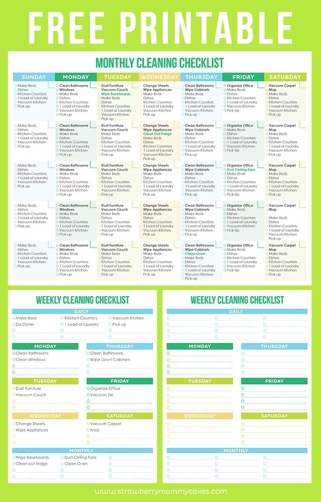 Download Printable Crush Monthly/Weekly Cleaning Checklist Free