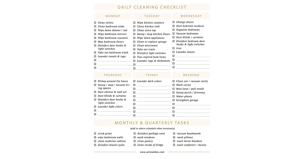 Download A Clean Bee Daily Cleaning Checklist Free Cleaning