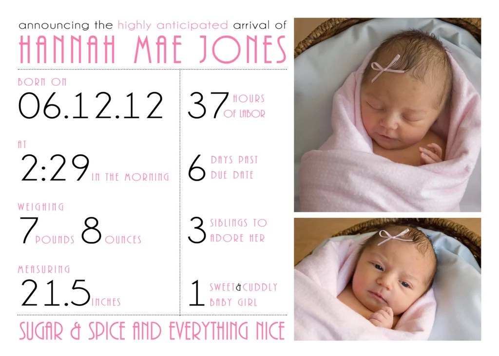 Baby Girl Birth Announcement Photo Card ($18) Infographic Art For - Baby Girl Birth Announcements