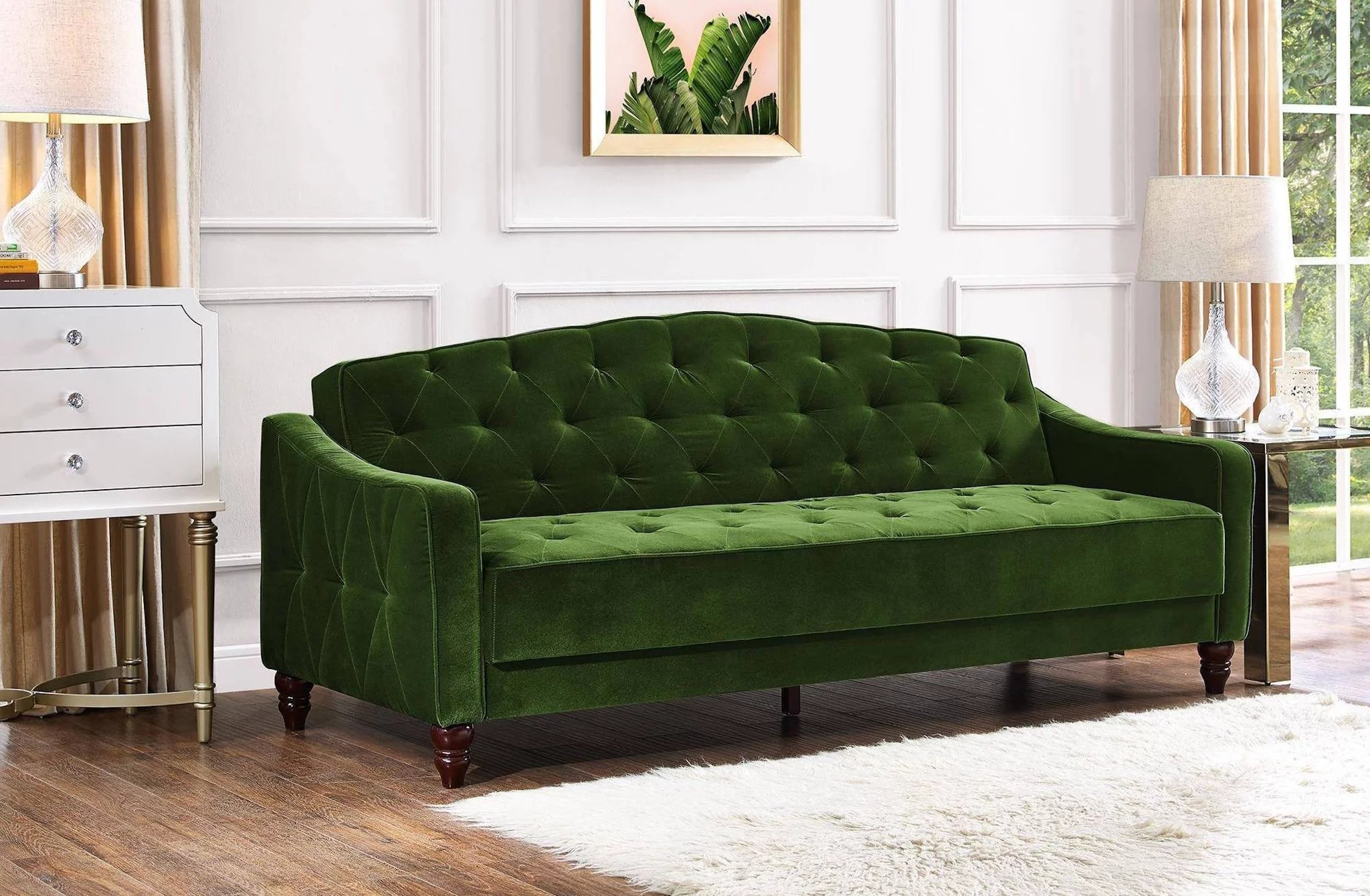Couch Sofa Novogratz Vintage Tufted Sofa Sleeper Review Popsugar Home