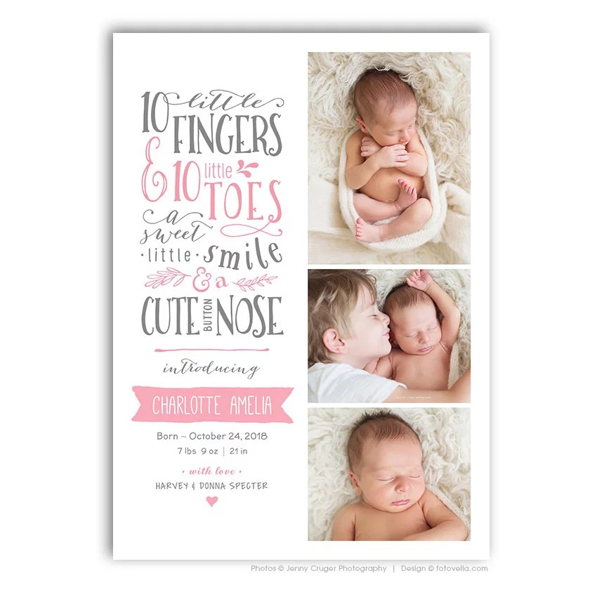 10 Little Fingers, 10 Little Toes Card ($10) Etsy Birth