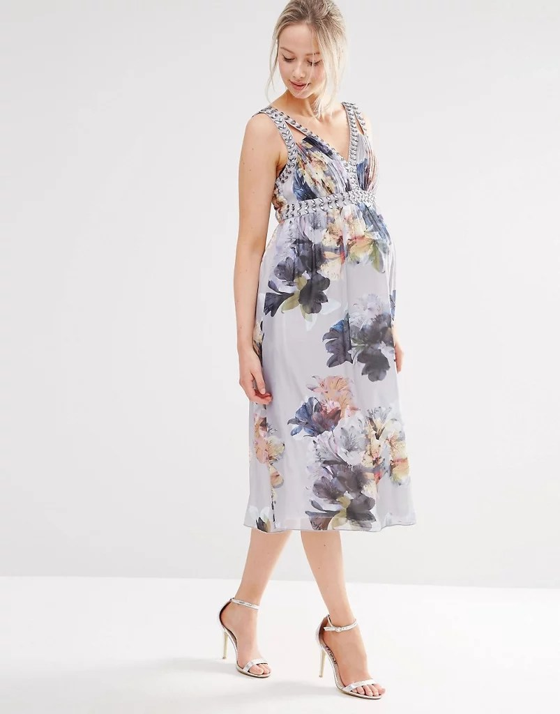 Maternity Dresses Wedding Guests maternity dress for wedding Little Mistress Maternity Floral Print Dress With Embellishment
