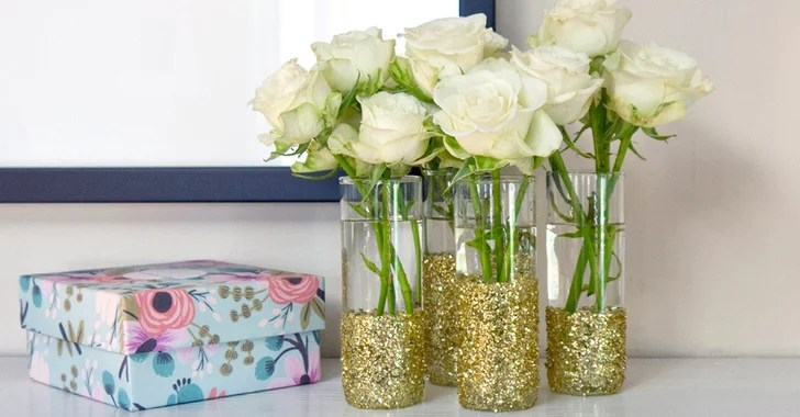 Diy Glitter Shot Glass Vases Popsugar Smart Living