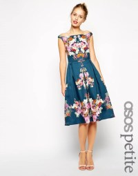 ASOS Petite Vintage Winter Floral Midi Bardot Dress | Best ...
