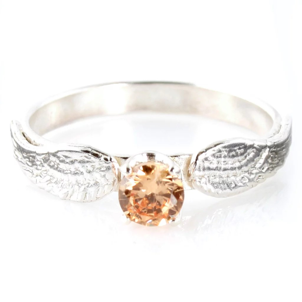 Harry Potter Engagement Rings harry potter wedding bands Sterling Silver Snitch Engagement Ring
