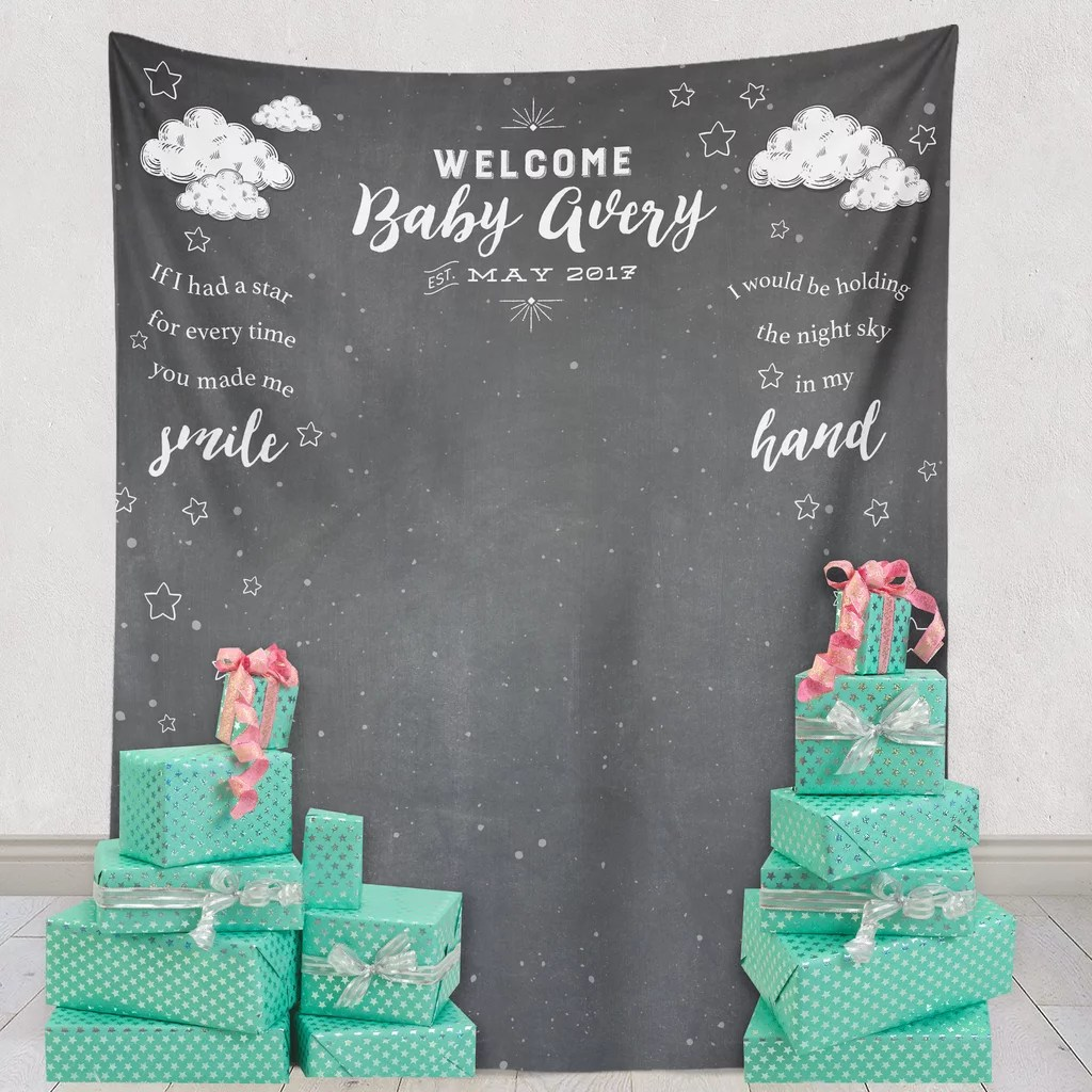 Imposing Welcome Baby Backdrop Welcome Baby Backdrop Baby Shower Decorations Popsugar Moms Baby Shower Backdrop Fabric Baby Shower Backdrop Diy baby shower Baby Shower Backdrop