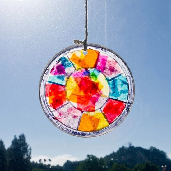 Easy Stained Glass Window Hanging Craft For Kids   Popsugar Moms