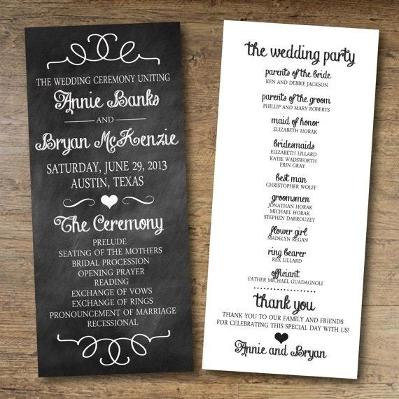 Chalkboard Wedding Program Free Printable Wedding Program - wedding program template