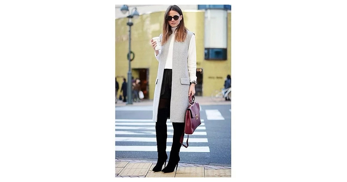 Black Leggings Tall Boots A Turtleneck And A Duster Vest Outfit Ideas From Pinterest