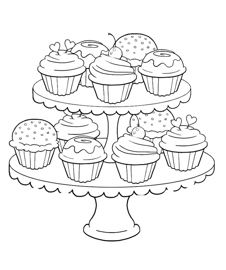 Get the coloring page Cupcakes Free Coloring Pages For Adults