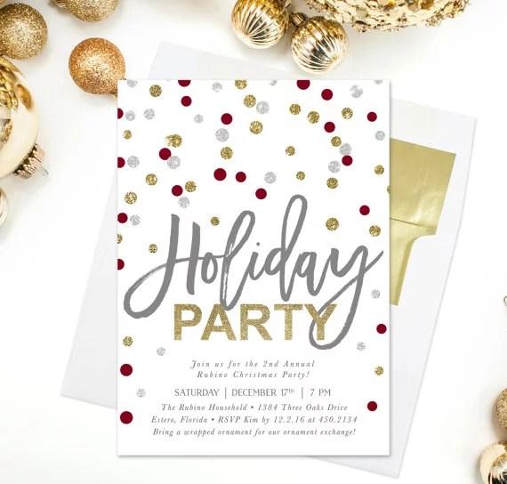 Polka Dot Holiday Party Invitation Printable Holiday Party
