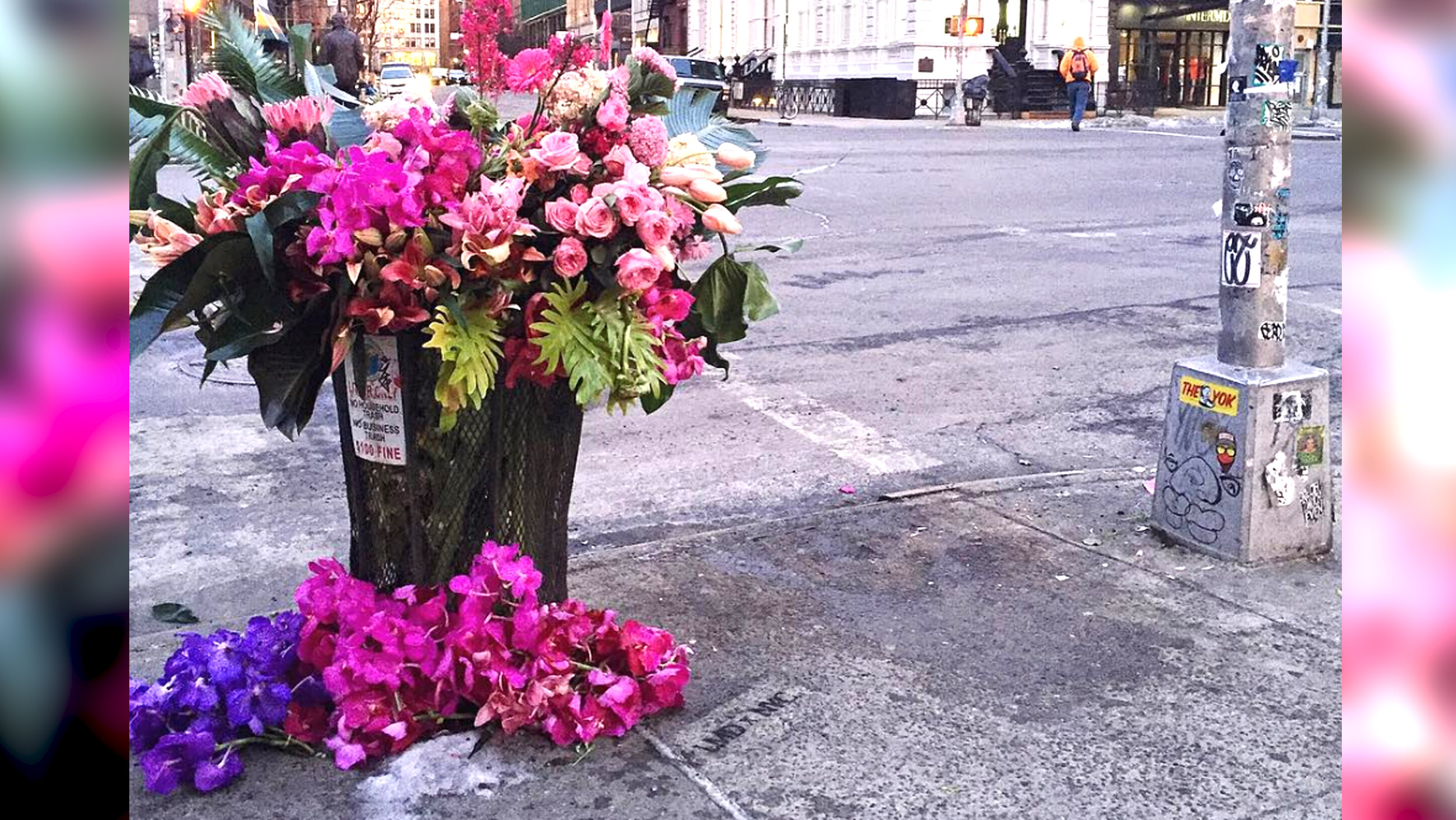 Attractive Trash Cans 39flower Bandits 39 Transform Nyc Trash Cans Into Beautiful