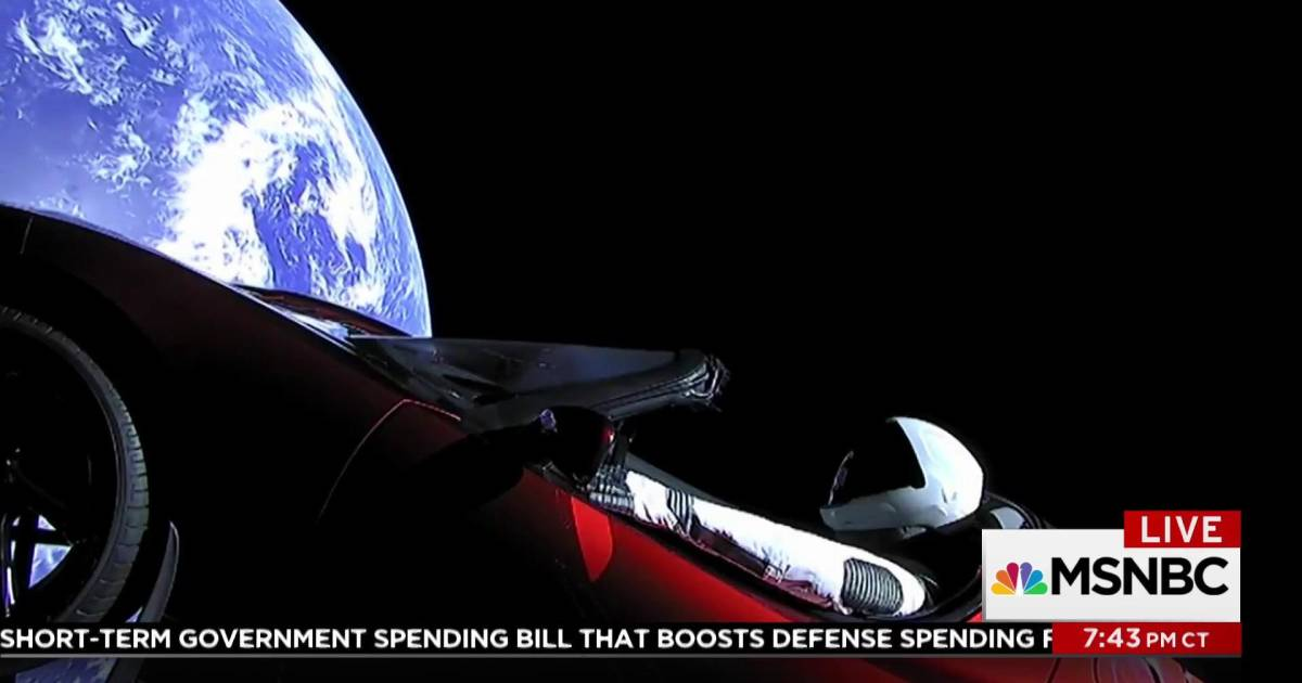 Elon Musk Car In Spac Wallpaper Spacex Launches Tesla Sports Car Into Sun S Orbit