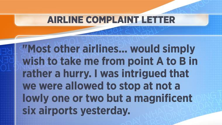 Sarcastic complaint letter to airline goes viral