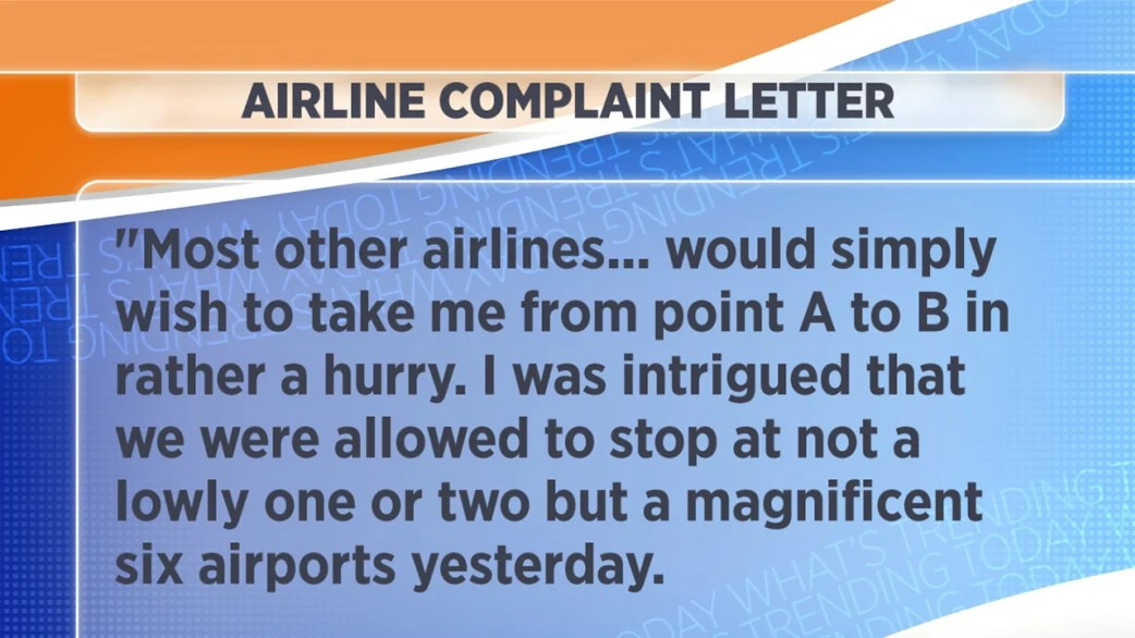 Sarcastic complaint letter to airline goes viral - TODAY
