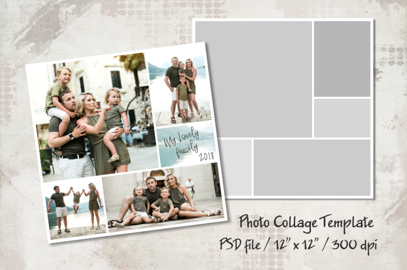Photo Template, 12x12, Photo Collage Templates, Layered Digital