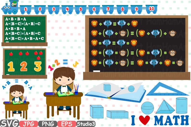 Free Back to School Cutting Files SVG Teacher Math Clip Art Graphic