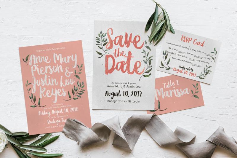 Rustic Pink  Green Wedding Invitation Suite By KlapauciusCo