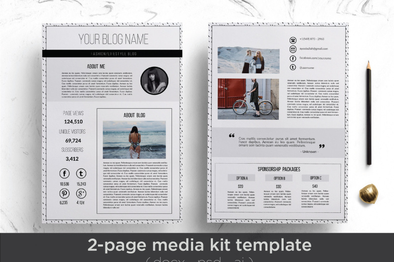 Elegant media kit template By Chic templates TheHungryJPEG