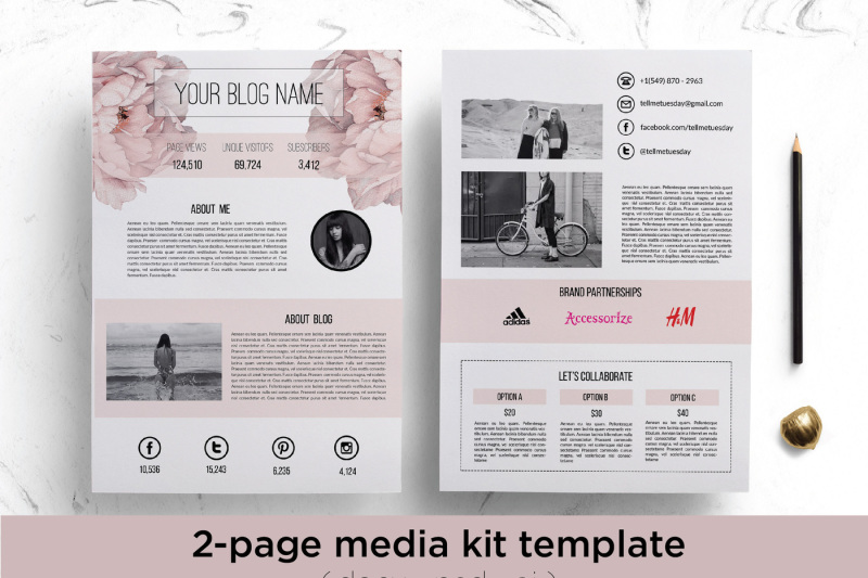 Floral media kit template By Chic templates TheHungryJPEG
