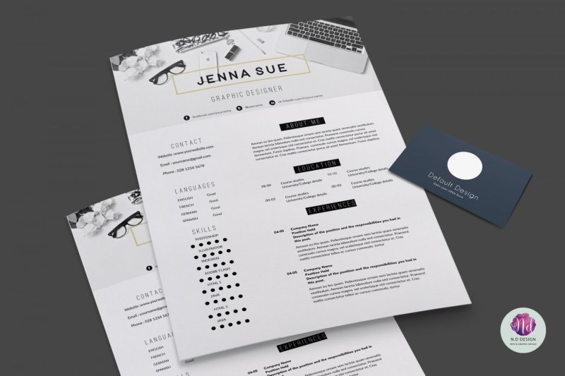 Editable 2 Page CV Template By Chic templates TheHungryJPEG