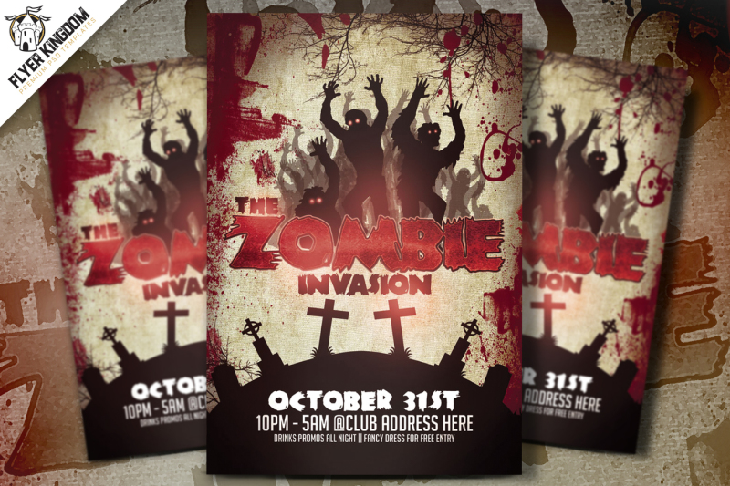The Zombie Invasion Flyer Template By FlyerKingdom TheHungryJPEG