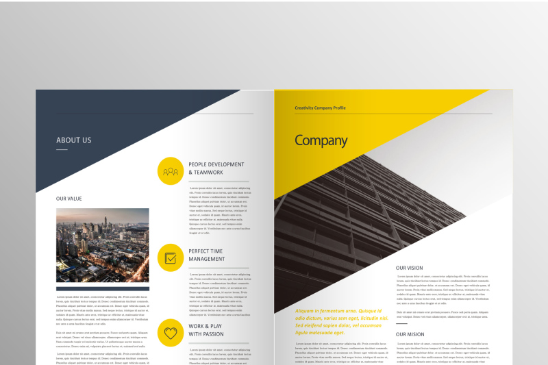 Professional Yellow Company Brochure Template By CreativeDesign