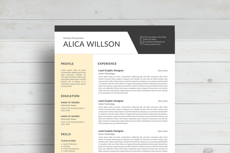 Colored Resume template/Word Resume By Linzo91 TheHungryJPEG