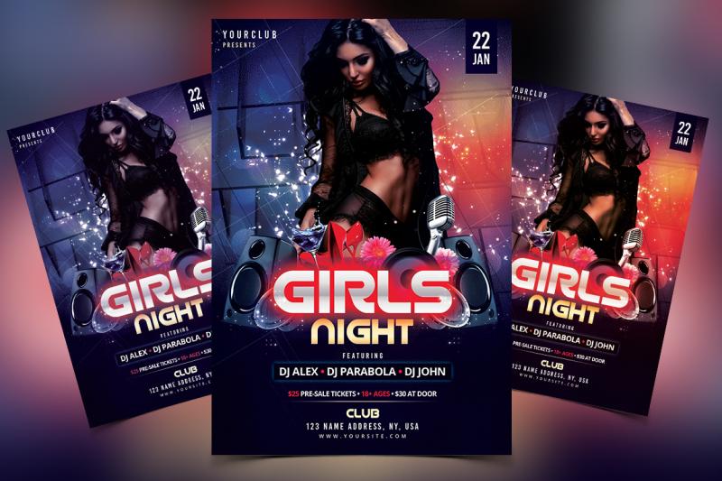 Girls Night - DJ PSD Flyer Template By Fidan Selmani TheHungryJPEG