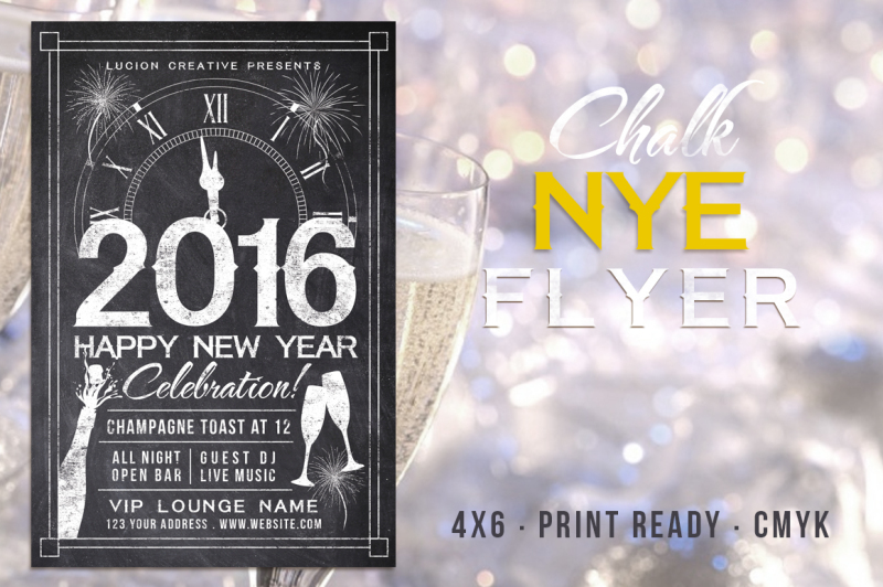 Chalk New Years Party Flyer By Lucion Creative TheHungryJPEG