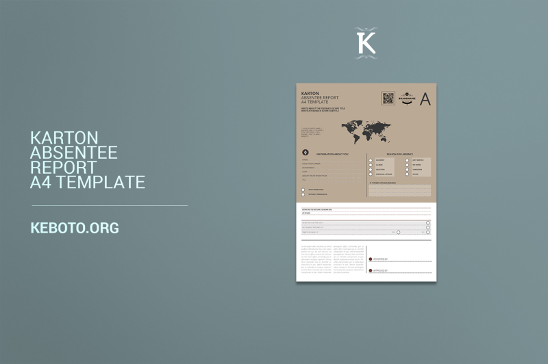 Karton Absentee Report A4 Template By Keboto TheHungryJPEG