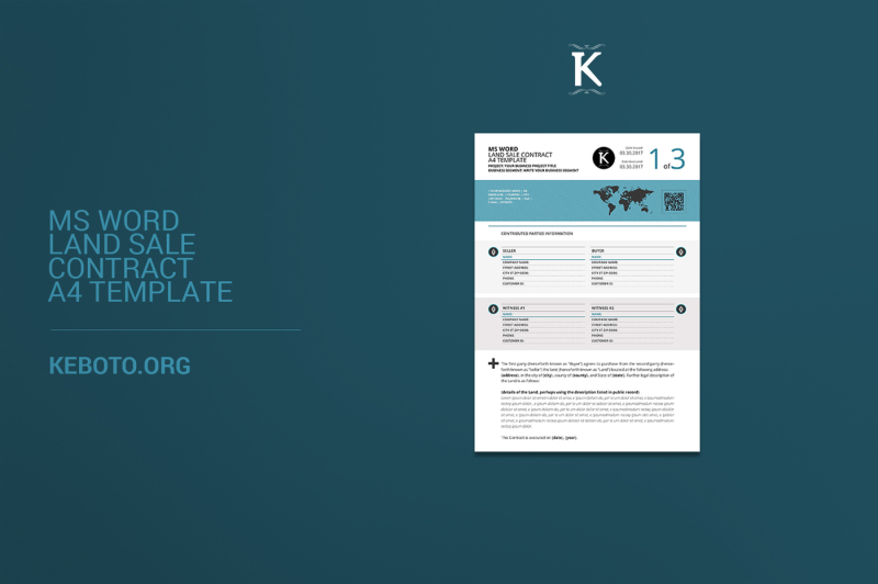 MS Word Land Sale Contract A4 Template By Keboto TheHungryJPEG