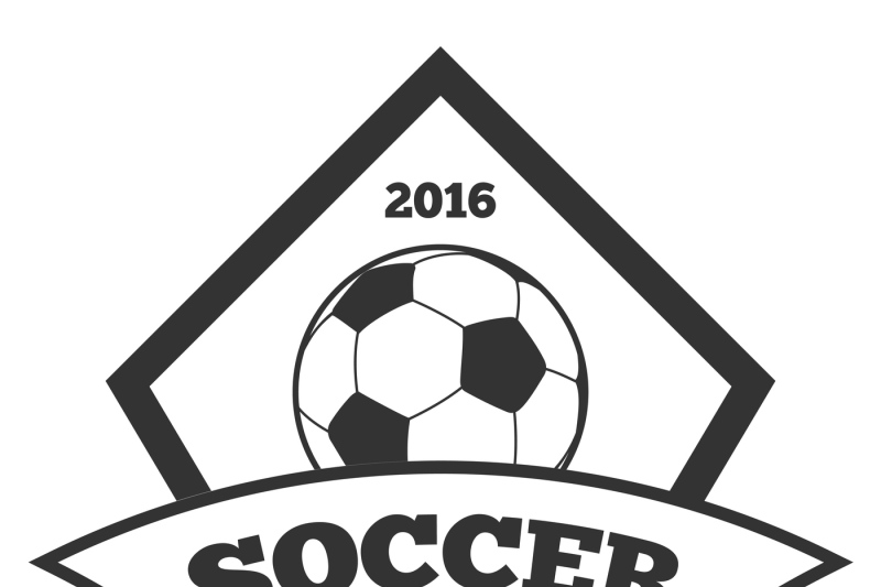 Vector soccer logo template, emblem in black isolated white By