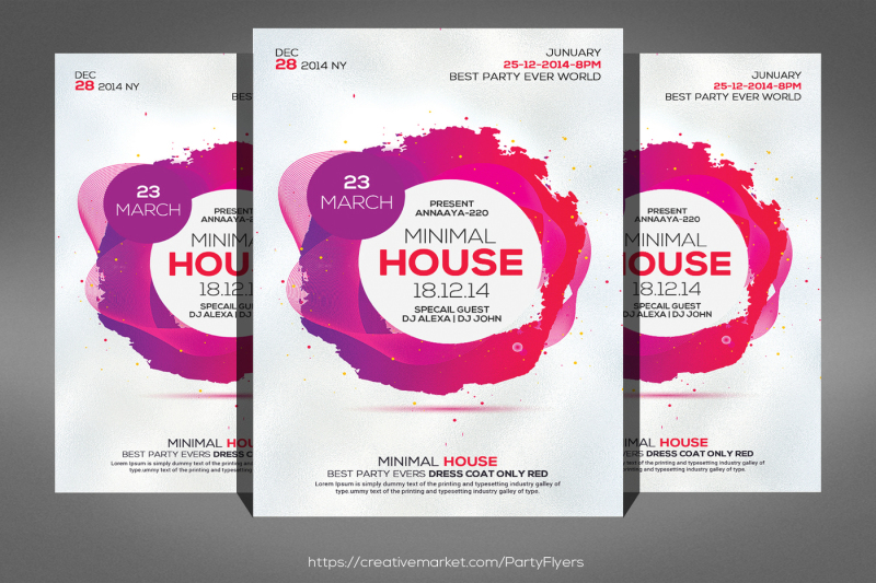 Electro Minimal House Party Flyer Template By Business Templates