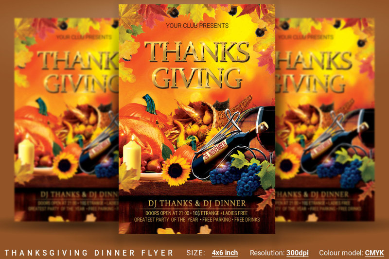 Thanksgiving Dinner Flyer By oloreon TheHungryJPEG