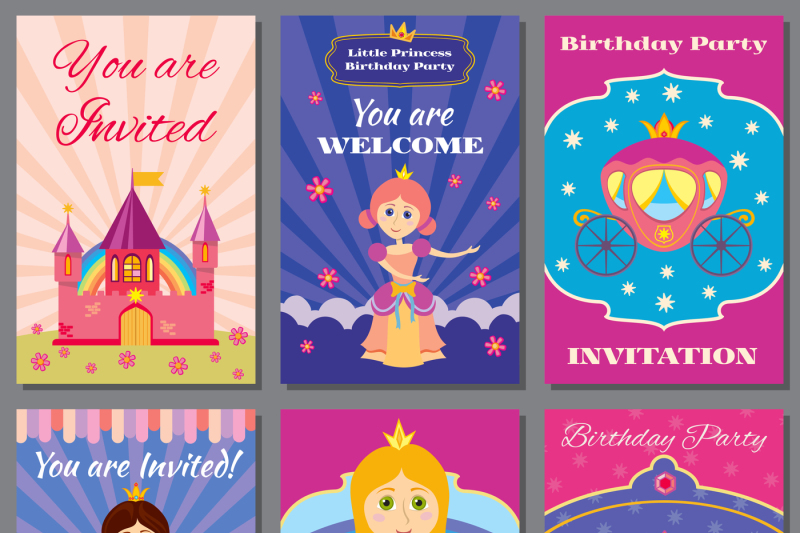 Child girl birthday, princess party vector invitations set By